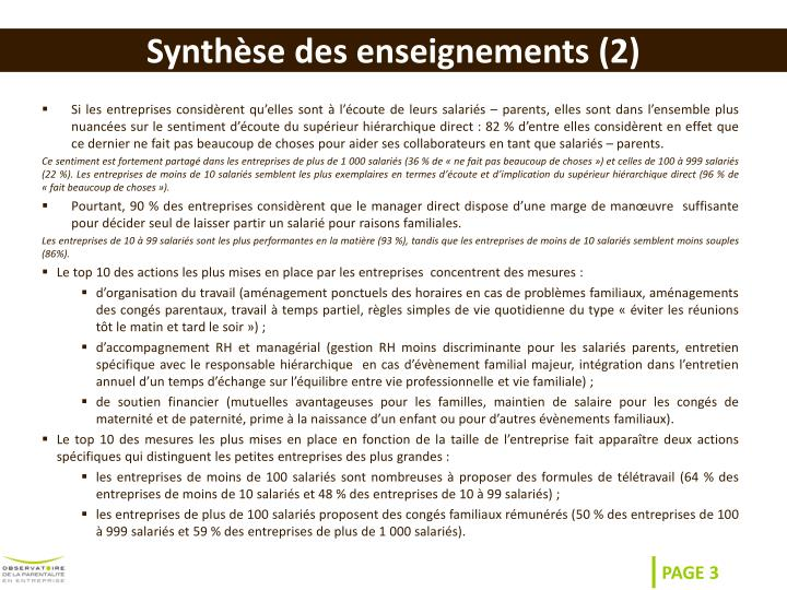 Synth se des enseignements 2