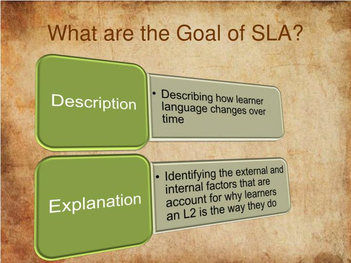 What are the Goal of SLA?