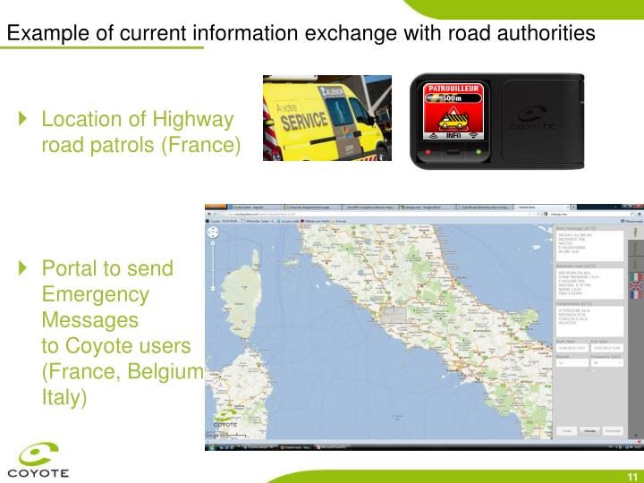 Example of current information exchange with road authorities