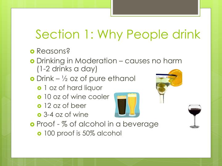Section 1 why people drink