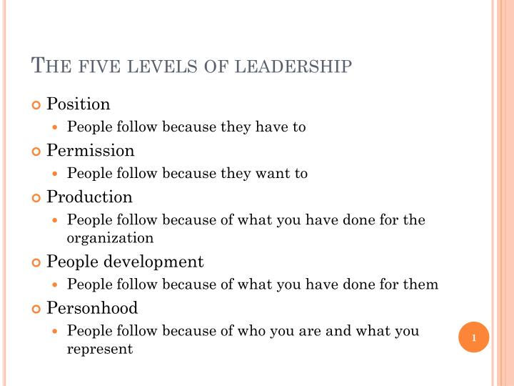 five level of leadership John maxwell is an american author, speaker, and pastor author of over 60  books, mostly known for his theory on leadership in his.