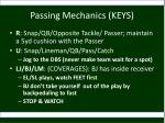 passing mechanics keys