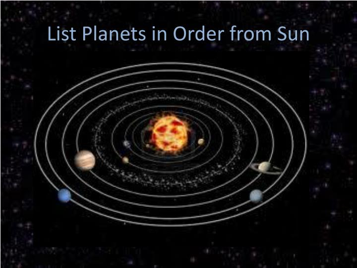 List Planets in Order from Sun