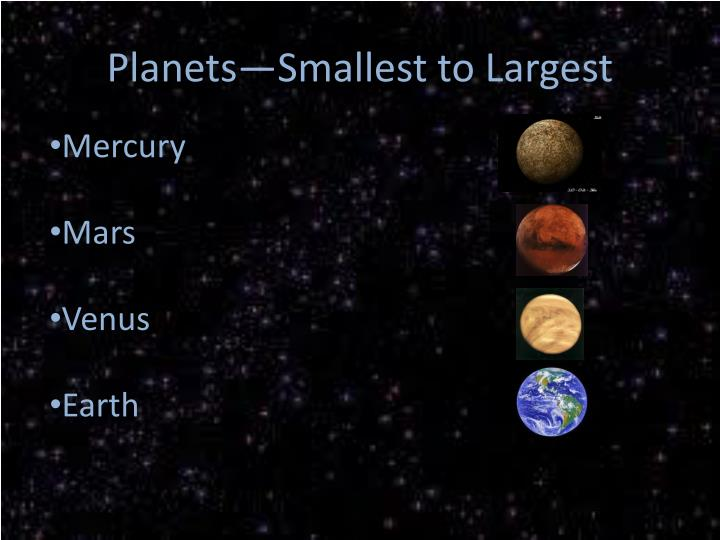 Planets—Smallest to Largest