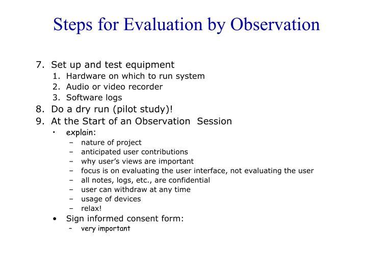 Steps for Evaluation by Observation