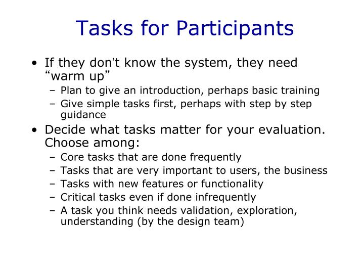 Tasks for Participants