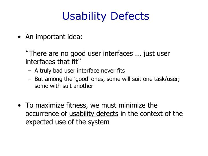 Usability Defects