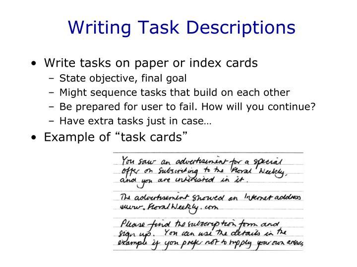 Writing Task Descriptions