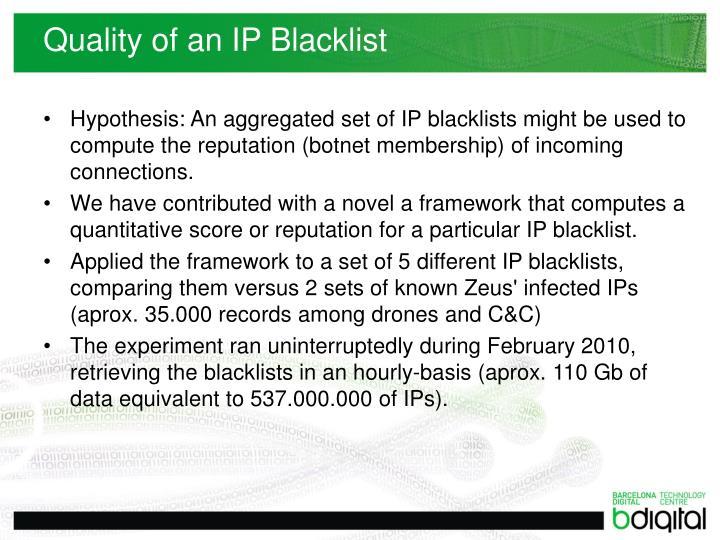 Quality of an IP Blacklist