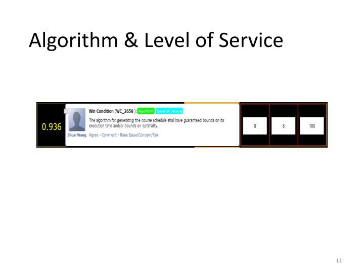 Algorithm & Level of Service