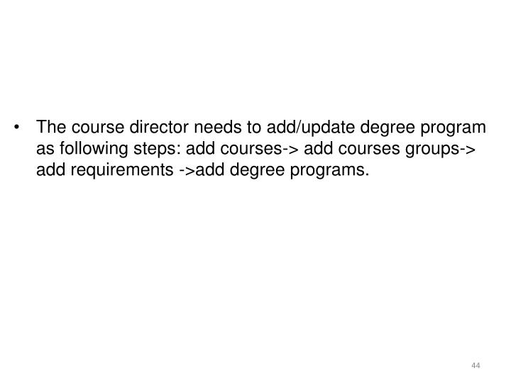 The course director needs to add/update degree program as following steps: add courses-> add courses groups-> add requirements ->add degree programs.