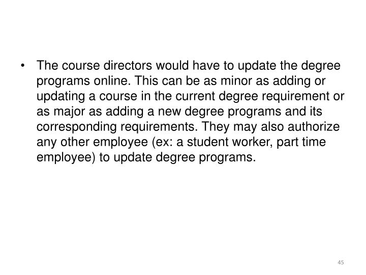 The course directors would have to update the degree programs online. This can be as minor as adding or updating a course in the current degree requirement or as major as adding a new degree programs and its corresponding requirements. They may also authorize any other employee (ex: a student worker, part time employee) to update degree programs.