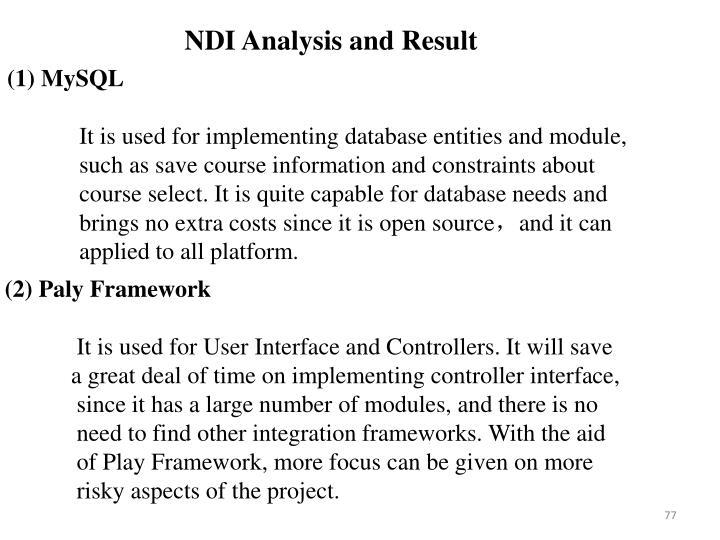 NDI Analysis and Result