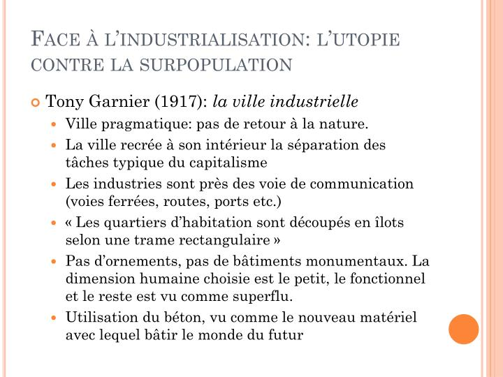 Face à l'industrialisation: l'utopie contre la surpopulation