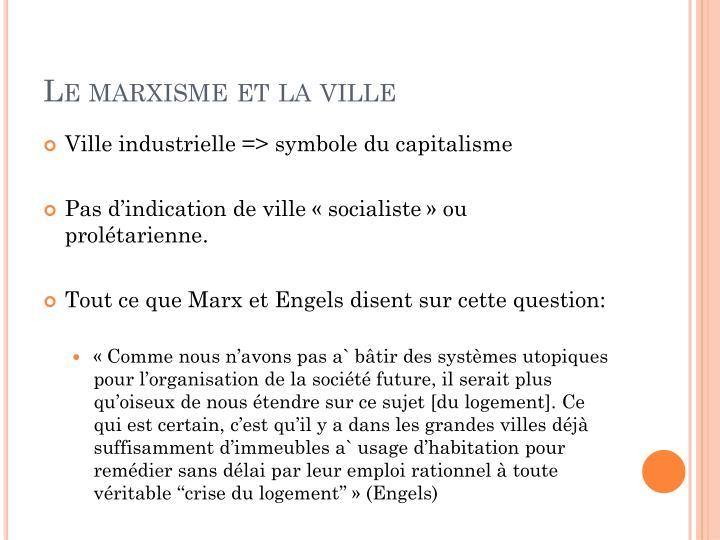 Le marxisme et la ville