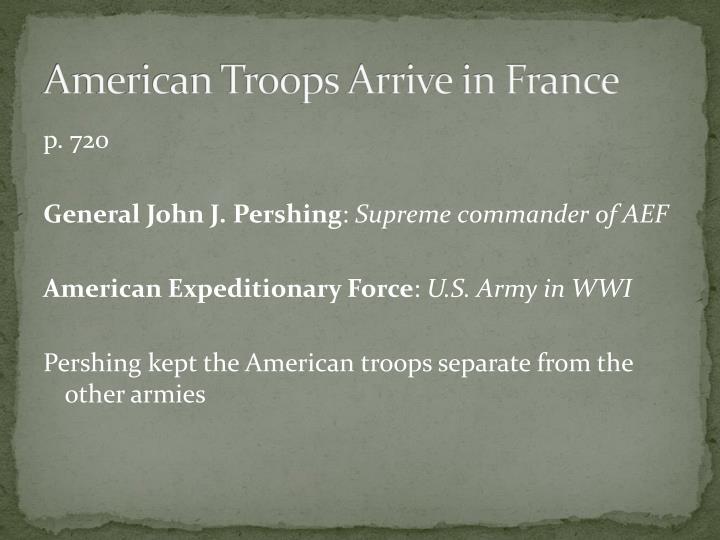 American Troops Arrive in France