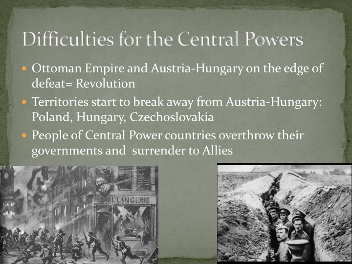 Difficulties for the Central Powers