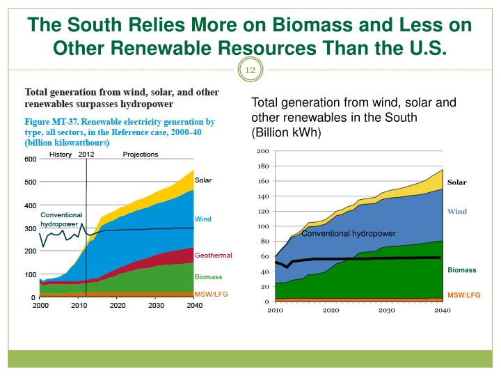 The South Relies More on Biomass and Less on Other Renewable Resources Than the U.S.