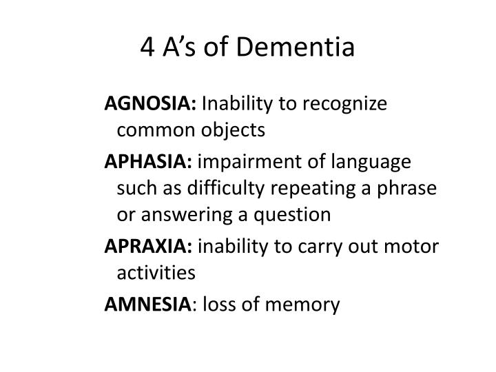 4 A's of Dementia