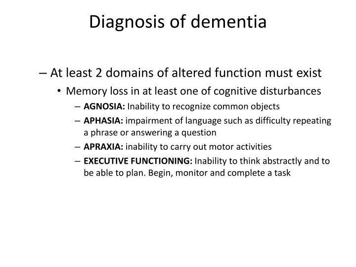 Diagnosis of dementia