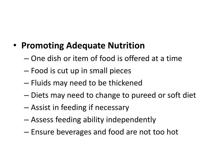 Promoting Adequate Nutrition