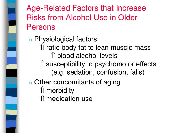 Age-Related Factors that Increase Risks from Alcohol Use in Older Persons