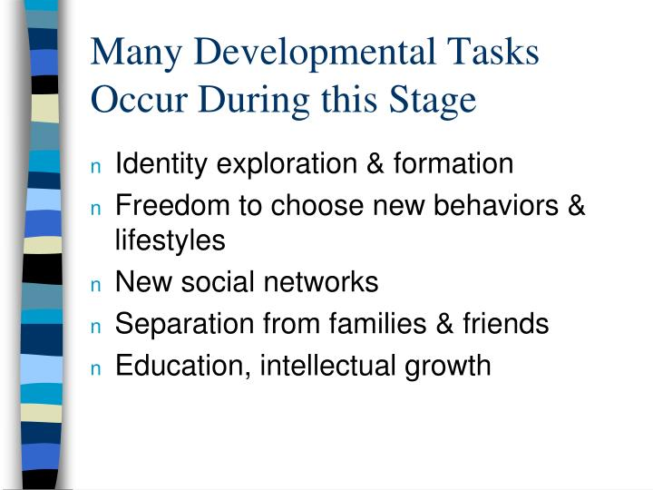 Many Developmental Tasks Occur During this Stage