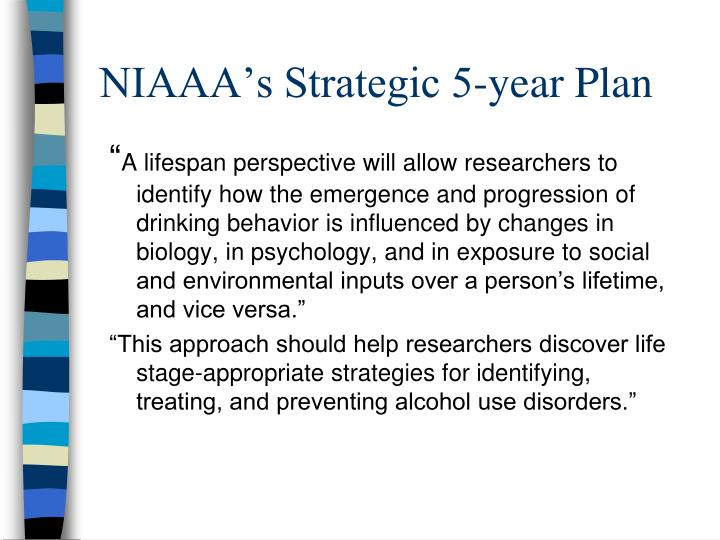 NIAAA's Strategic 5-year Plan