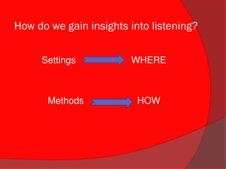 How do we gain insights into listening?
