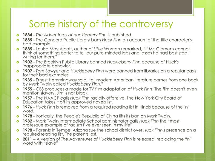 Some history of the controversy