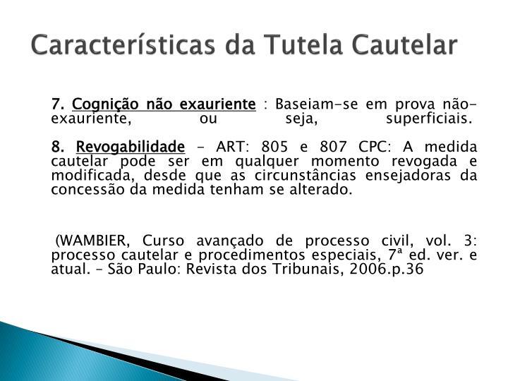 Características da Tutela Cautelar