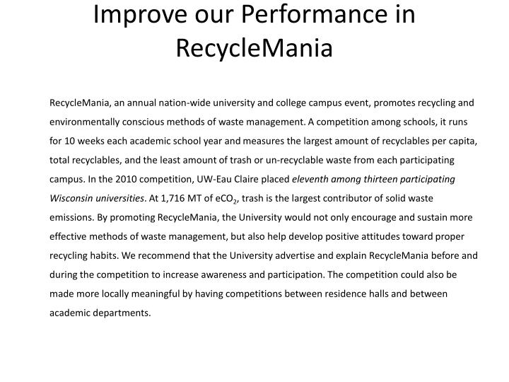 Improve our Performance in