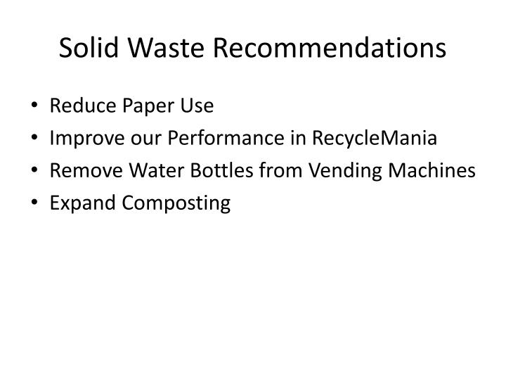 Solid Waste Recommendations