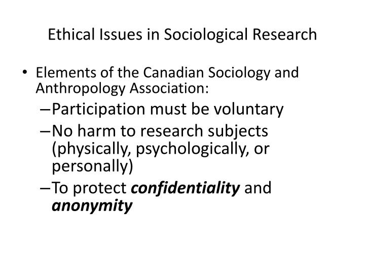 Ethical Issues in Sociological Research
