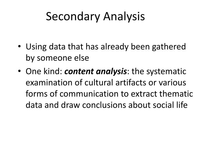 Secondary Analysis