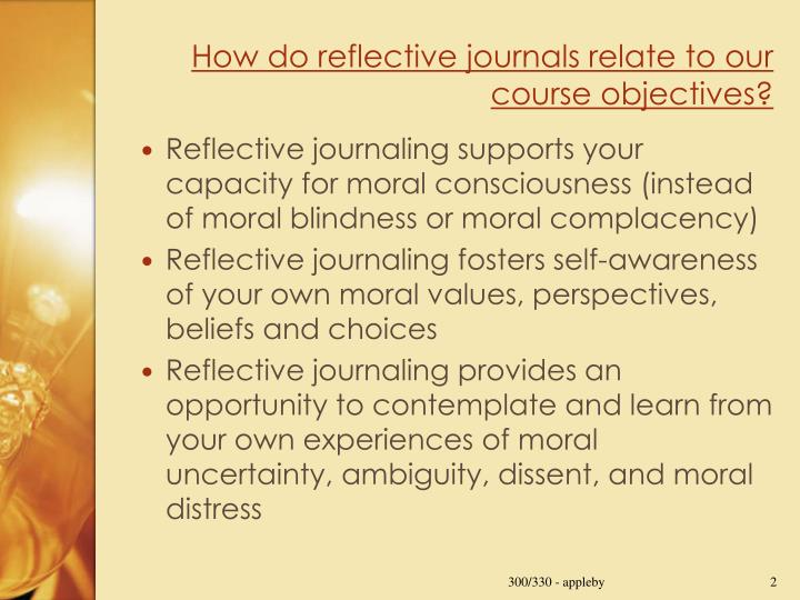 How do reflective journals relate to our course objectives?