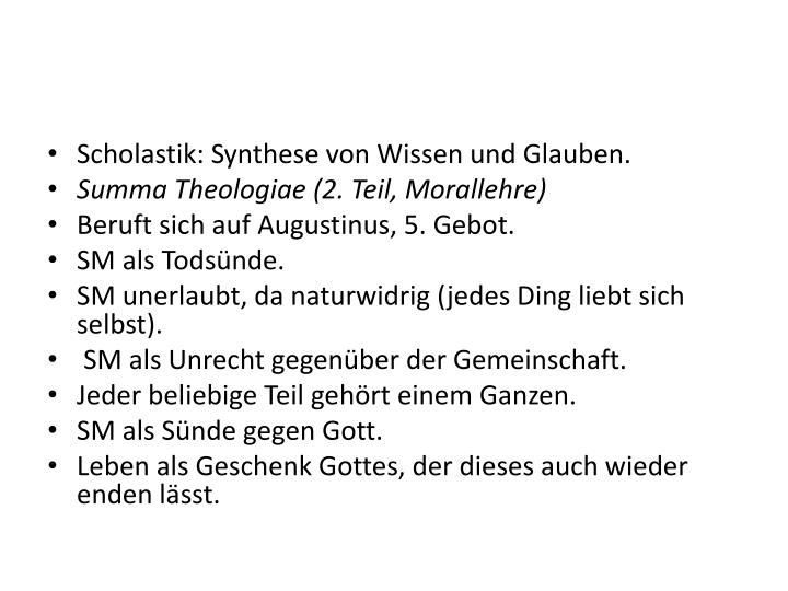 Scholastik: Synthese von Wissen und Glauben.