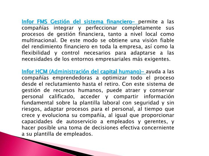 Infor FMS Gestión del sistema financiero-