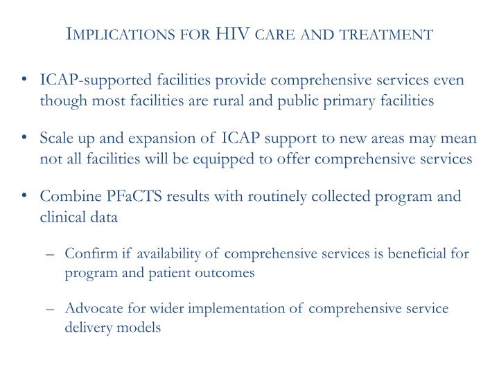 Implications for HIV care and treatment