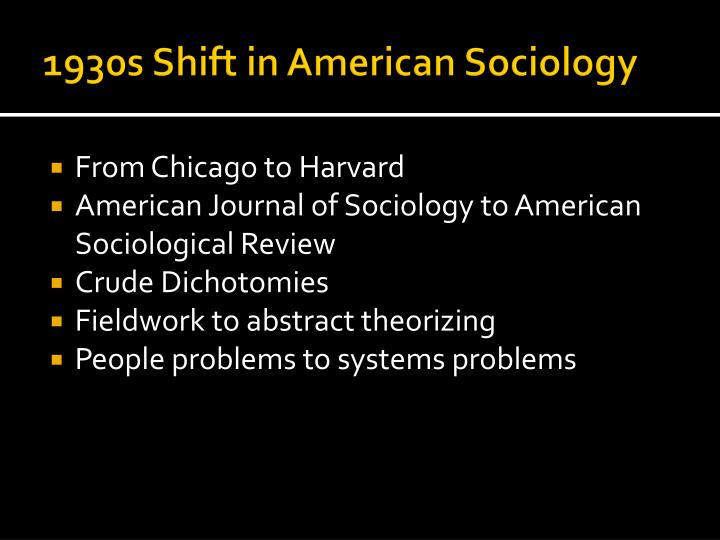 1930s Shift in American Sociology