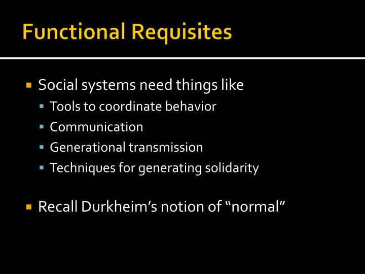 Functional Requisites