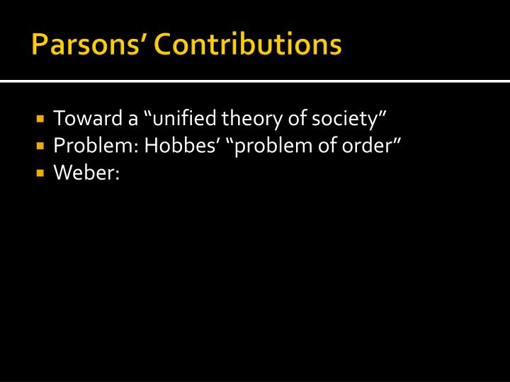 Parsons' Contributions