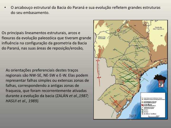 Os principais lineamentos estruturais, arcos e flexuras da evolução paleozóica que tiveram grande influência na configuração da geometria da Bacia do Paraná, nas suas áreas de reposição/erosão,