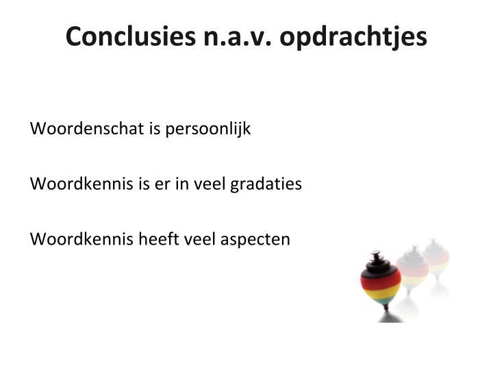 Conclusies n.a.v. opdrachtjes