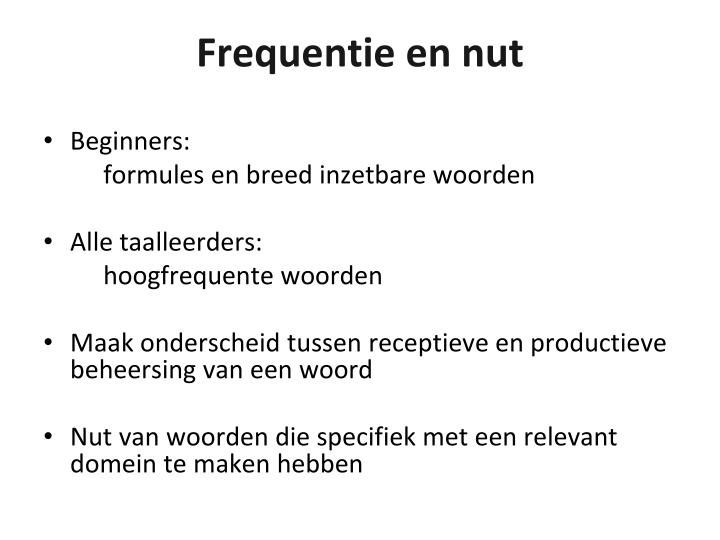 Frequentie en nut