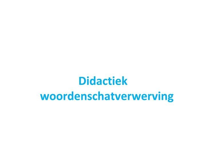 Didactiek woordenschatverwerving