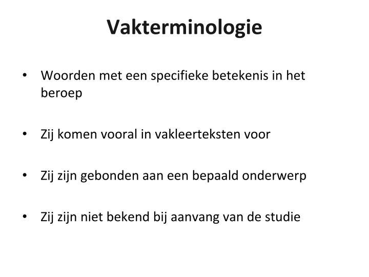 Vakterminologie