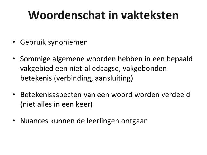 Woordenschat in