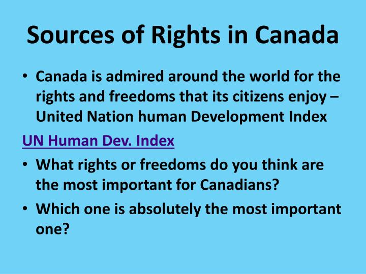 Sources of rights in canada