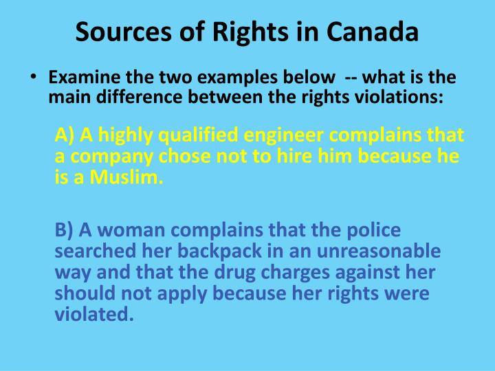 Sources of rights in canada1